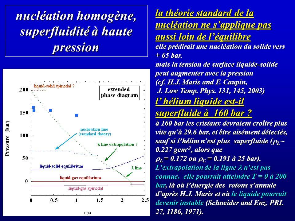 nucléation homogène, superfluidité à haute pression