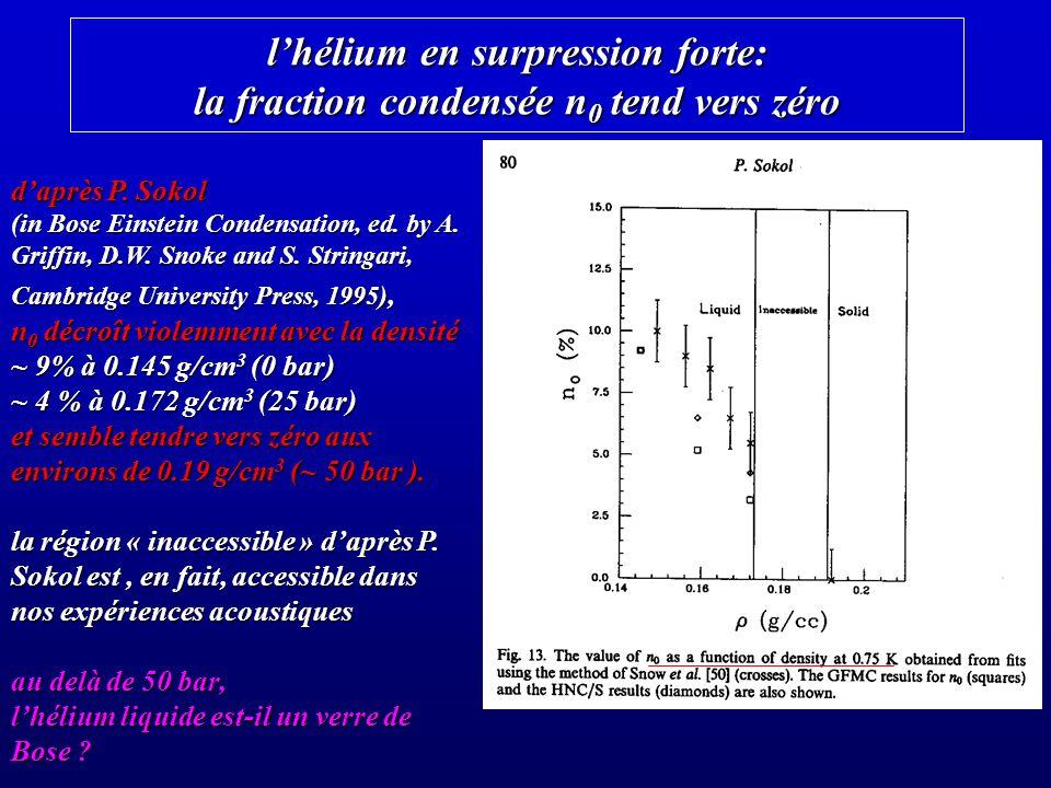 l'hélium en surpression forte: la fraction condensée n0 tend vers zéro