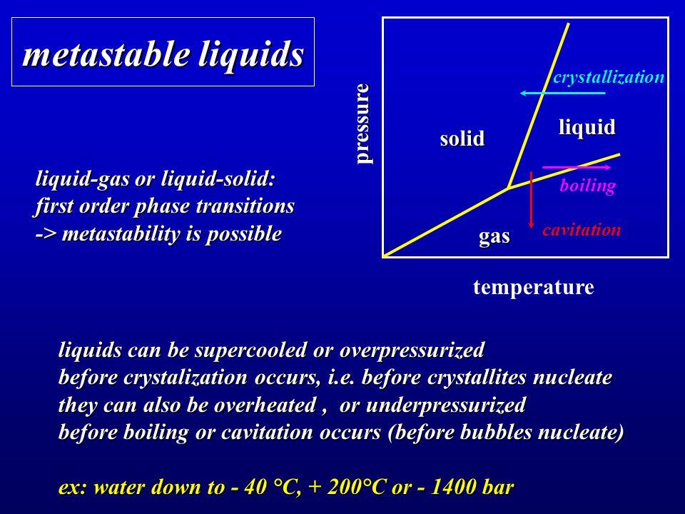 metastable liquids pressure liquid solid liquid-gas or liquid-solid: