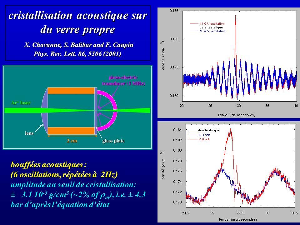cristallisation acoustique sur du verre propre X. Chavanne, S