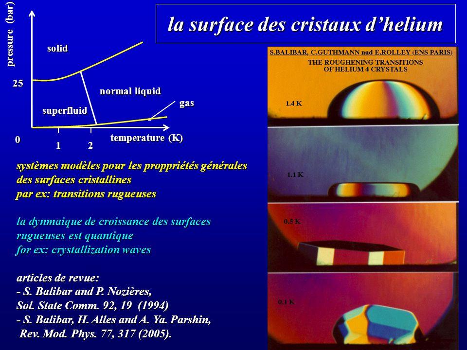 la surface des cristaux d'helium