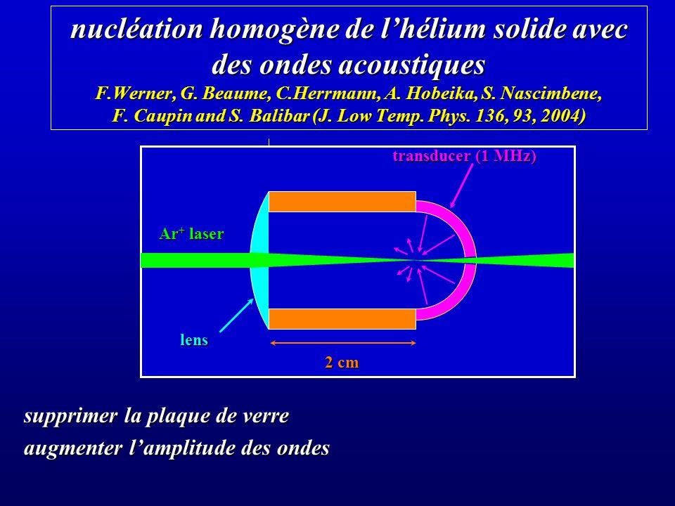 nucléation homogène de l'hélium solide avec des ondes acoustiques F
