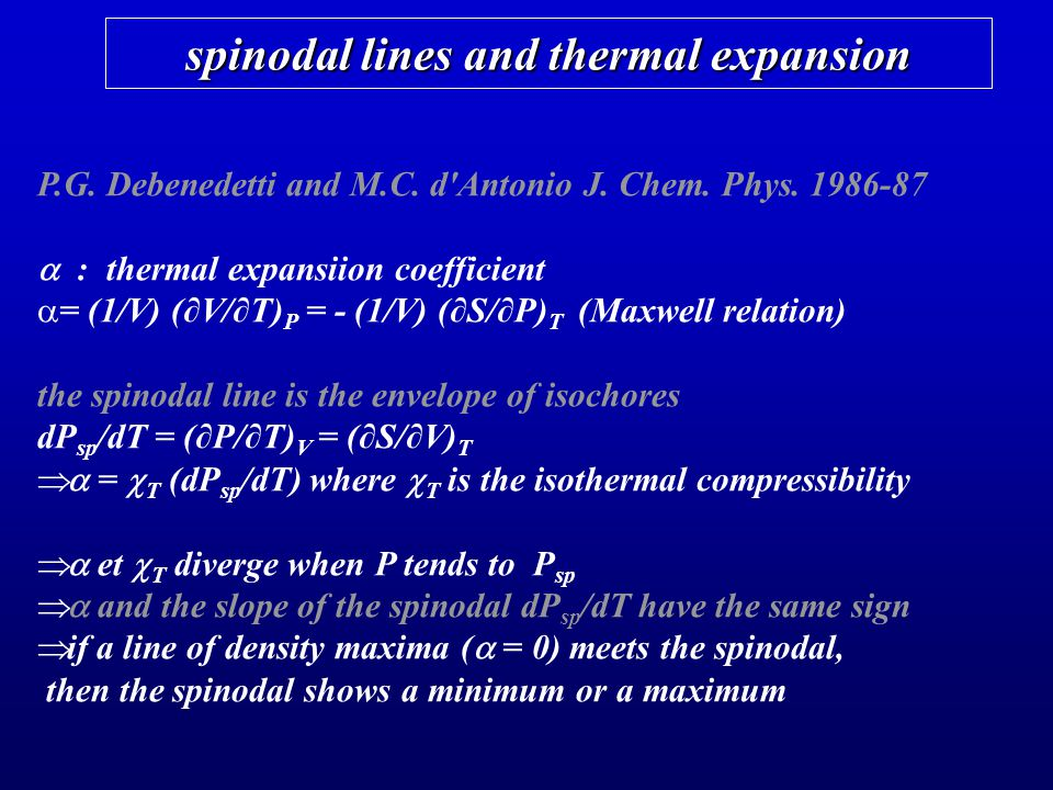 spinodal lines and thermal expansion