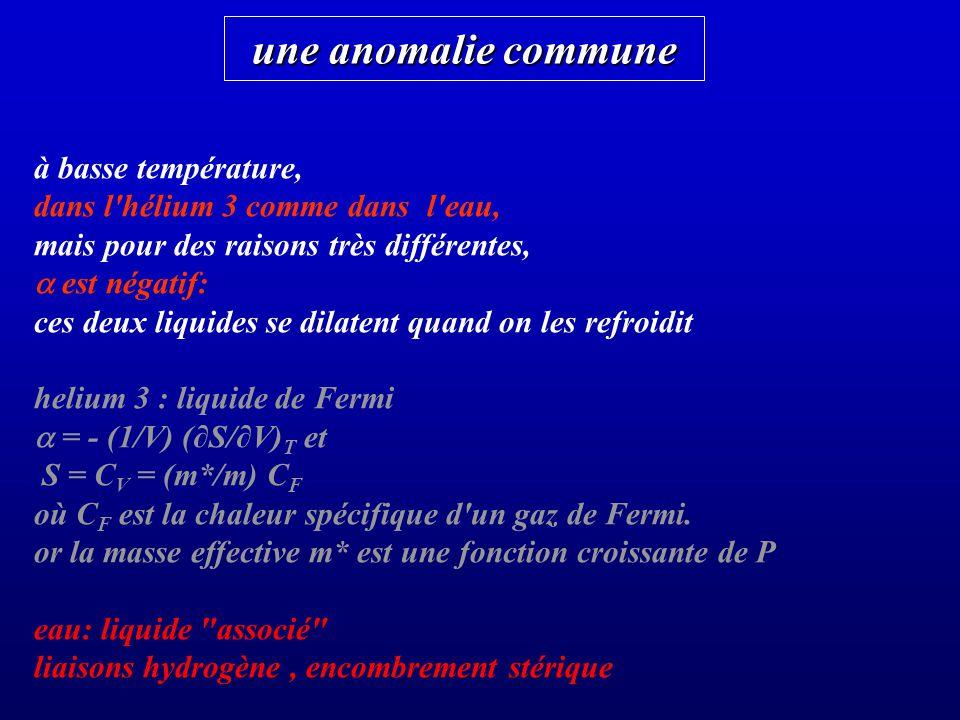 une anomalie commune à basse température,
