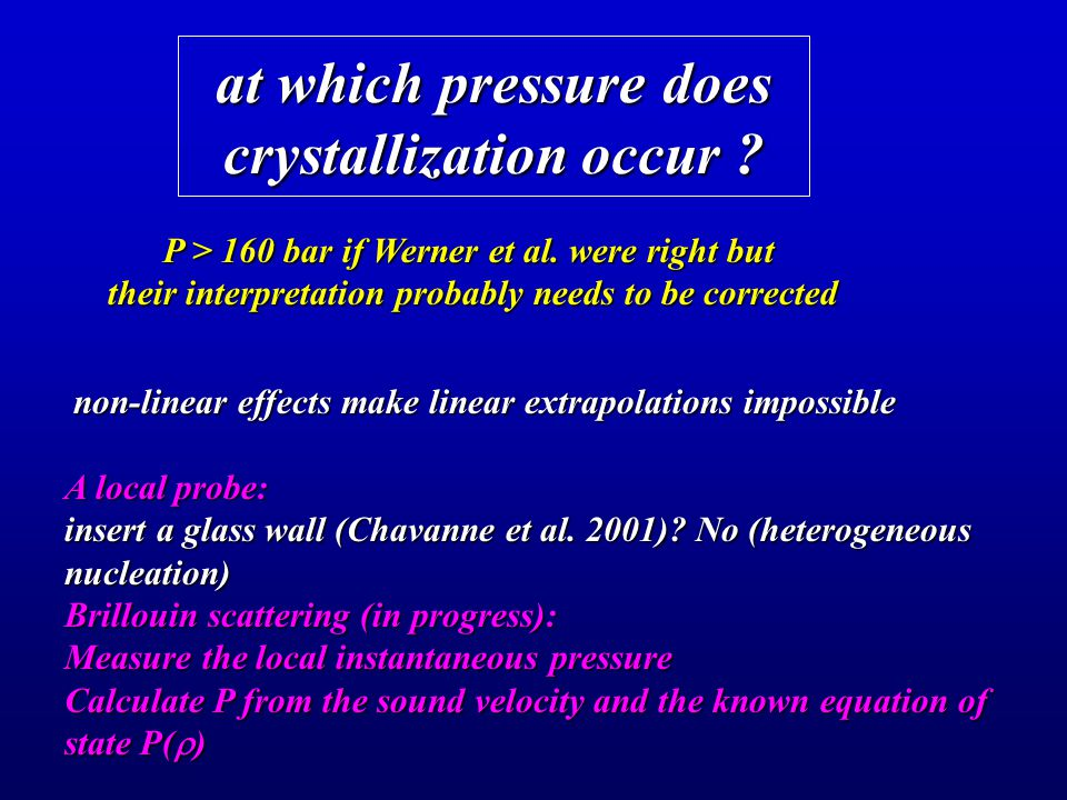 at which pressure does crystallization occur