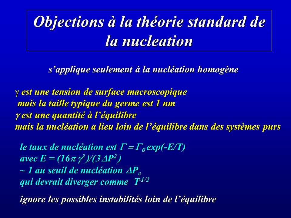 Objections à la théorie standard de la nucleation