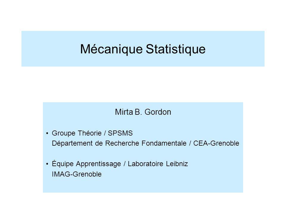 Mécanique Statistique