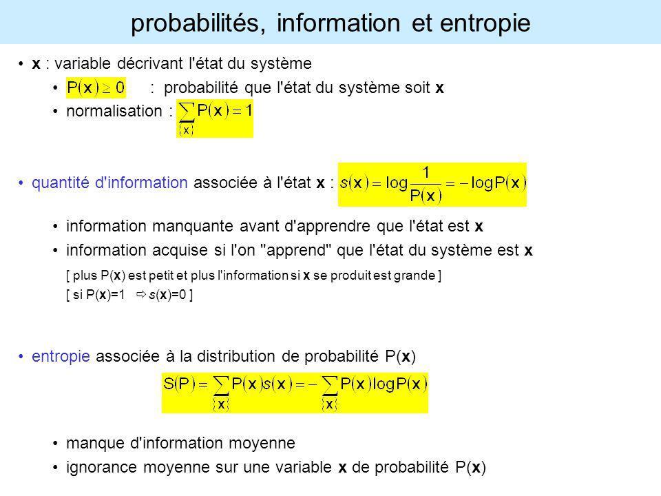probabilités, information et entropie