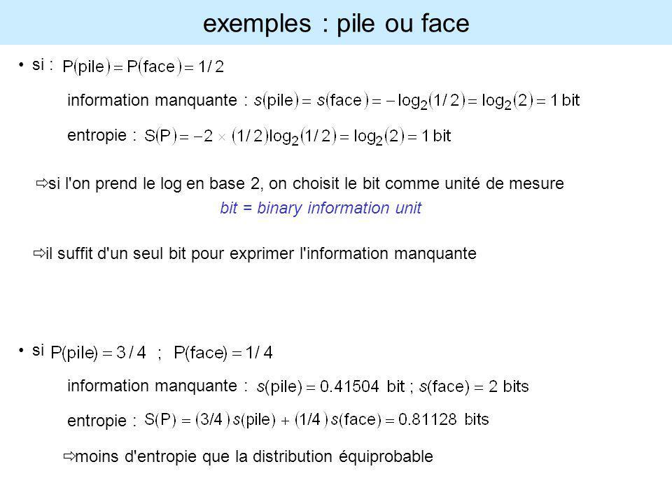 exemples : pile ou face si : information manquante : entropie :