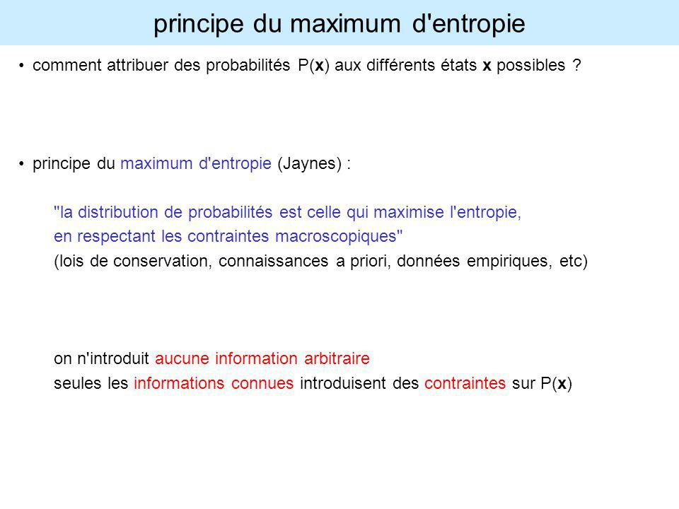 principe du maximum d entropie