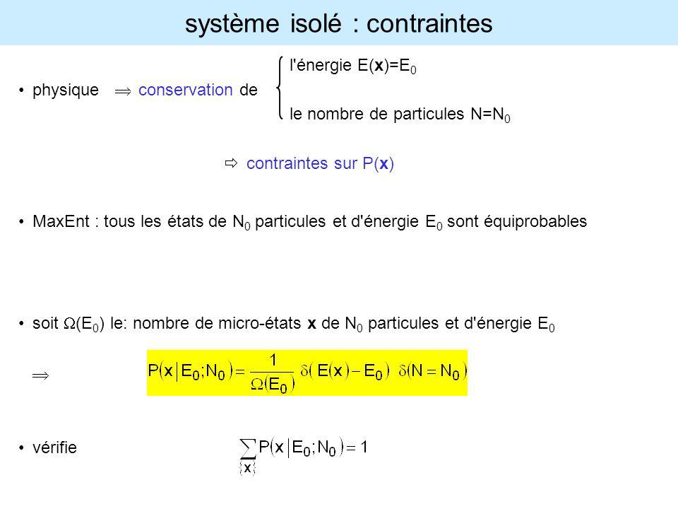 système isolé : contraintes