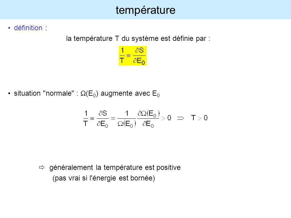 température définition : la température T du système est définie par :