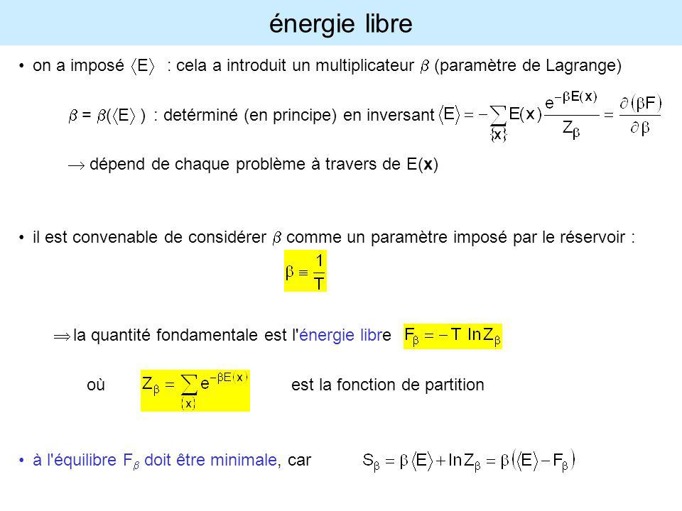 énergie libre on a imposé áEñ : cela a introduit un multiplicateur b (paramètre de Lagrange) b = b(áEñ) : detérminé (en principe) en inversant.