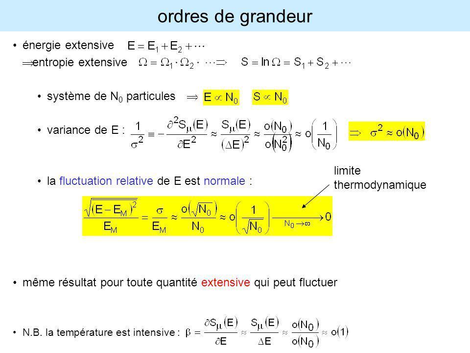 ordres de grandeur énergie extensive Þ entropie extensive
