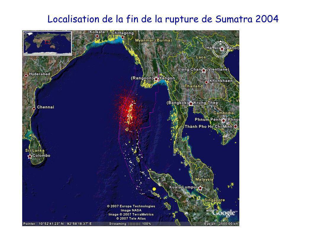 Localisation de la fin de la rupture de Sumatra 2004