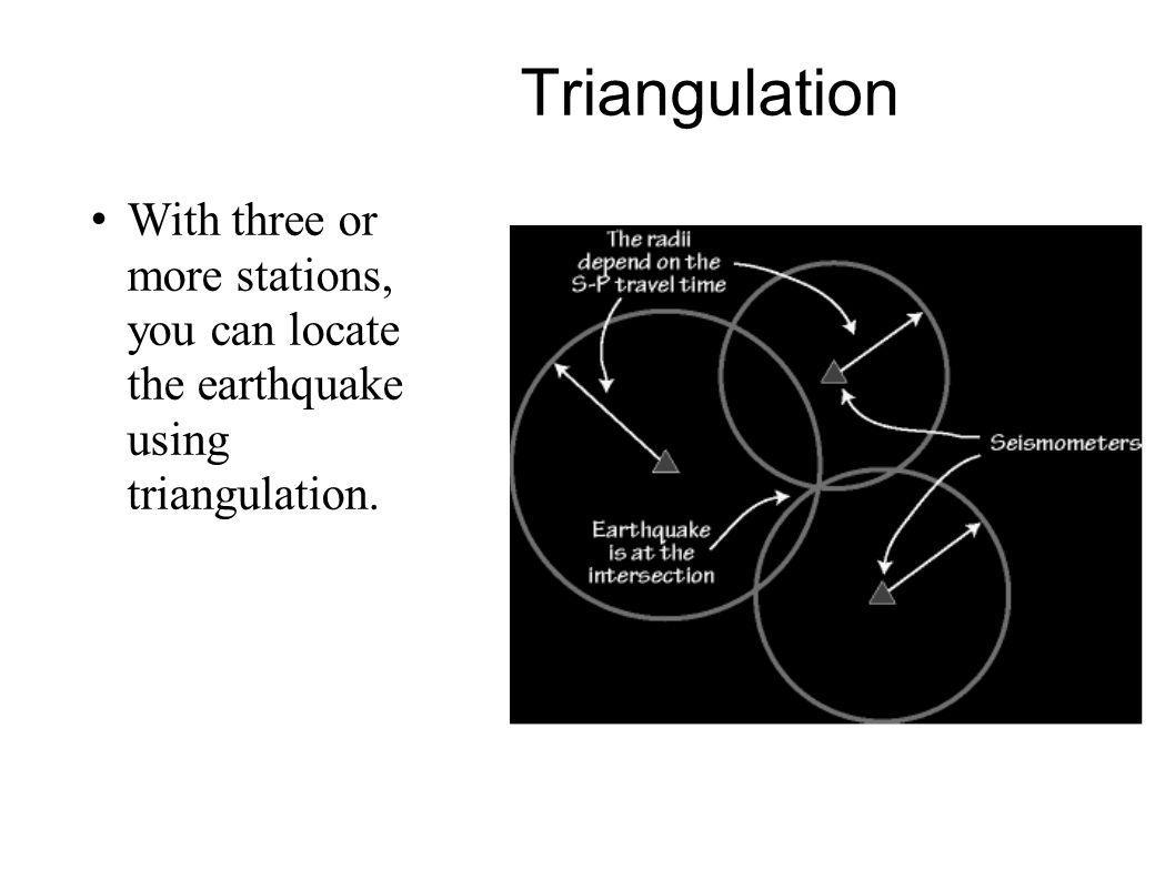 Triangulation With three or more stations, you can locate the earthquake using triangulation.