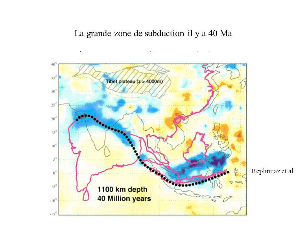 La grande zone de subduction il y a 40 Ma