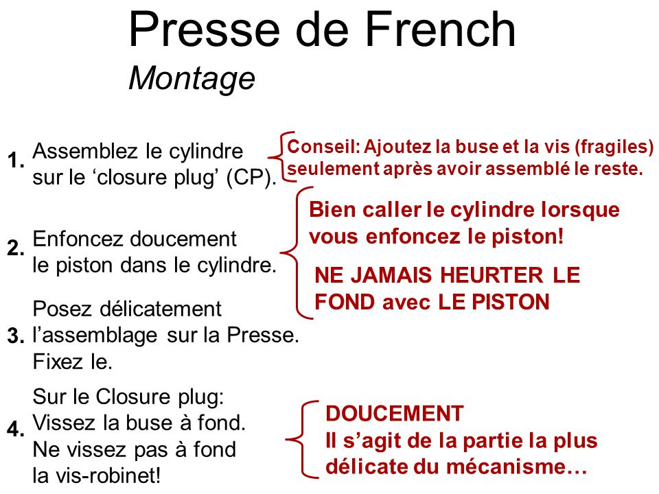 Presse de French Montage Assemblez le cylindre