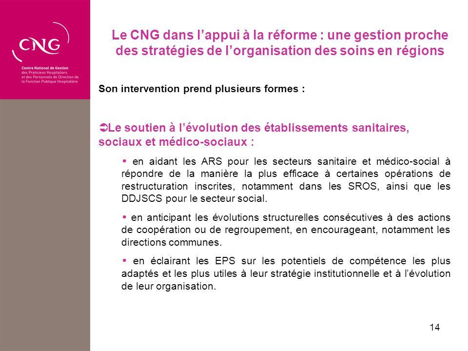 Le CNG dans l'appui à la réforme : une gestion proche des stratégies de l'organisation des soins en régions