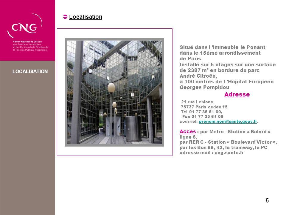 Adresse  Localisation 21 rue Leblanc Situé dans l 'immeuble le Ponant