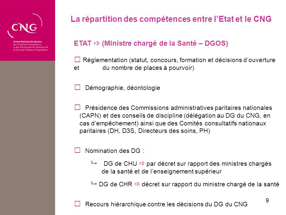 La répartition des compétences entre l'Etat et le CNG
