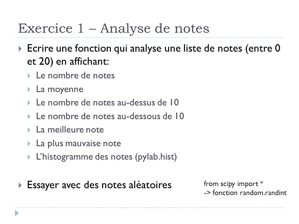 Exercice 1 – Analyse de notes