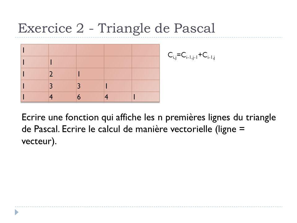 Exercice 2 - Triangle de Pascal