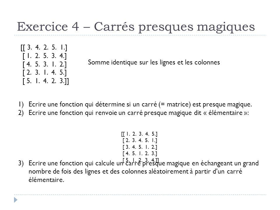 Exercice 4 – Carrés presques magiques