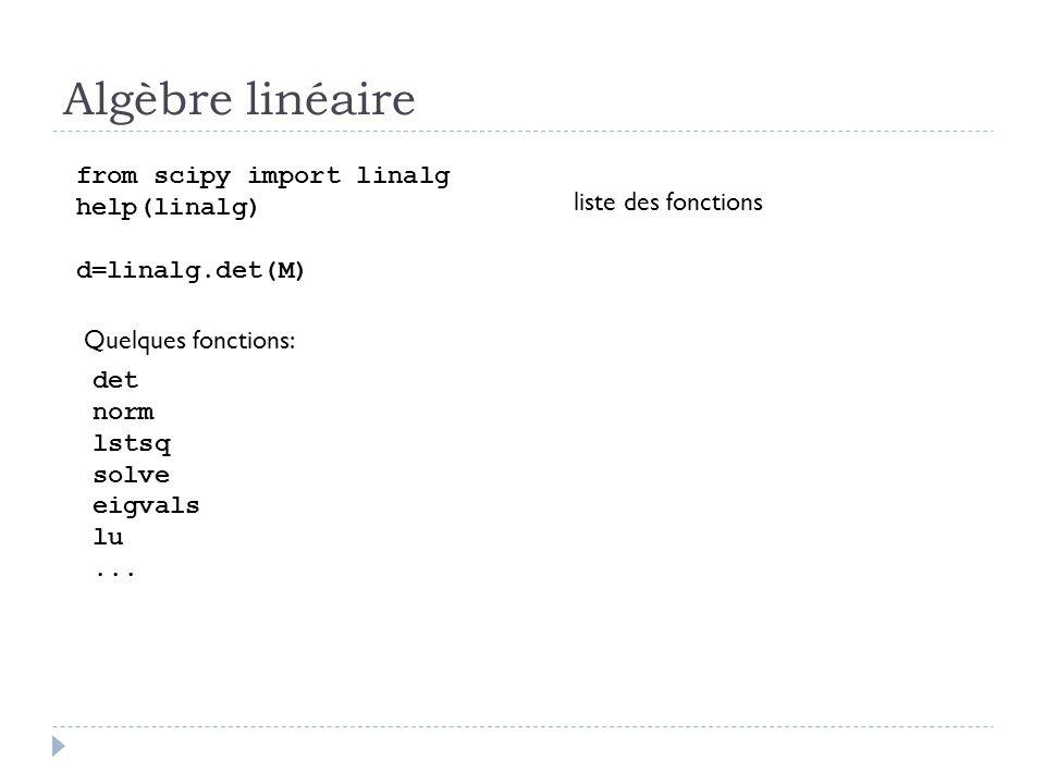 Algèbre linéaire from scipy import linalg help(linalg)