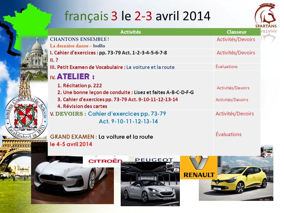 français 3 le 2-3 avril 2014 Activités Classeur Activités/Devoirs