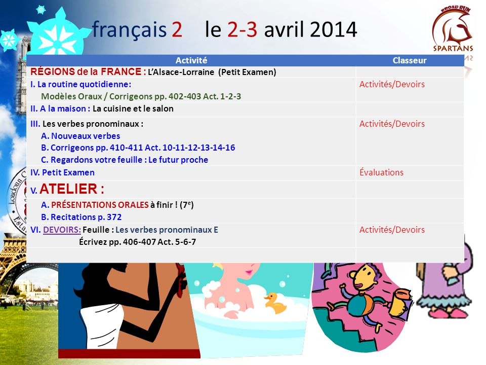 français 2 le 2-3 avril 2014 Activité Classeur