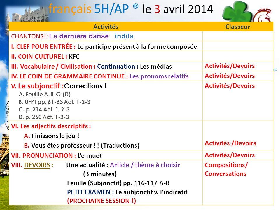 français 5H/AP ® le 3 avril 2014