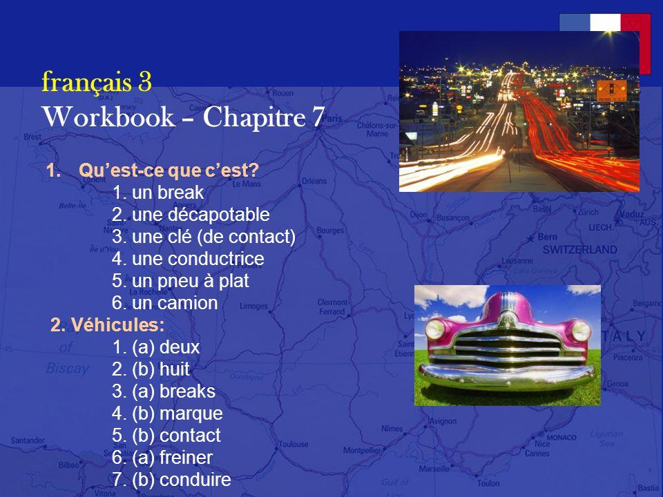 français 3 Workbook – Chapitre 7