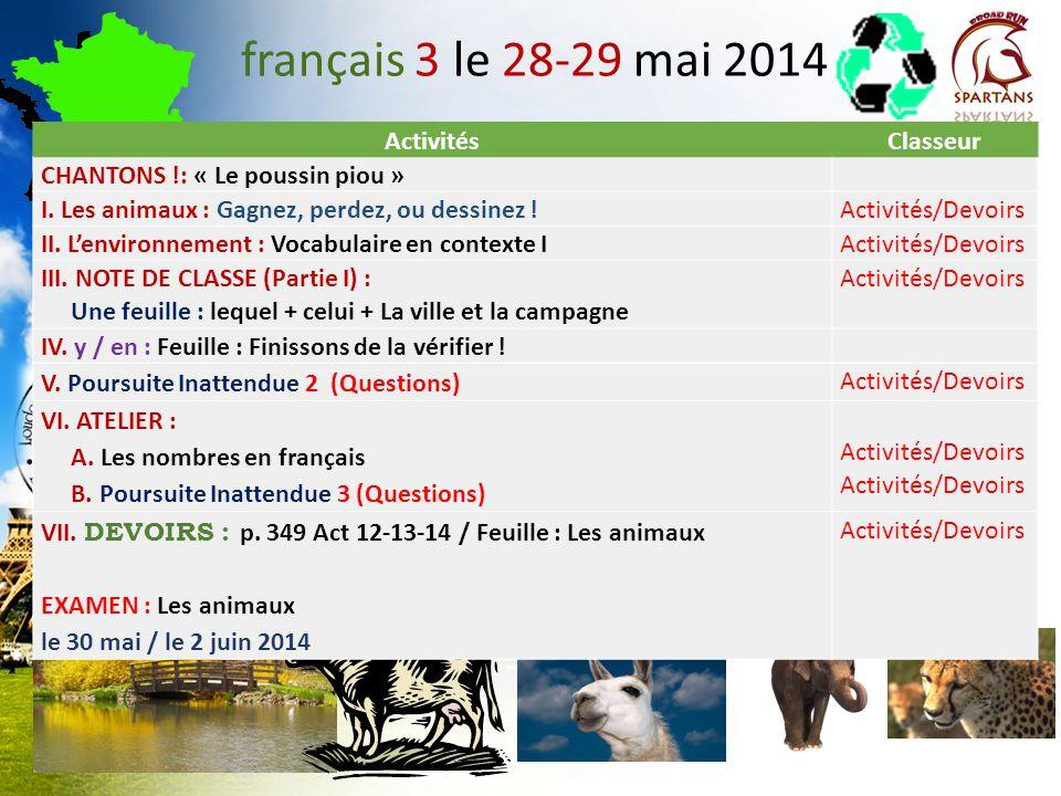 français 3 le 28-29 mai 2014 Activités Classeur