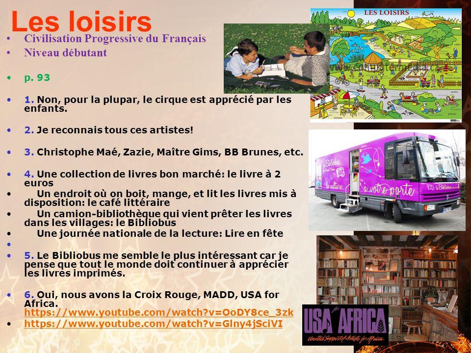 Les loisirs Civilisation Progressive du Français Niveau débutant p. 93