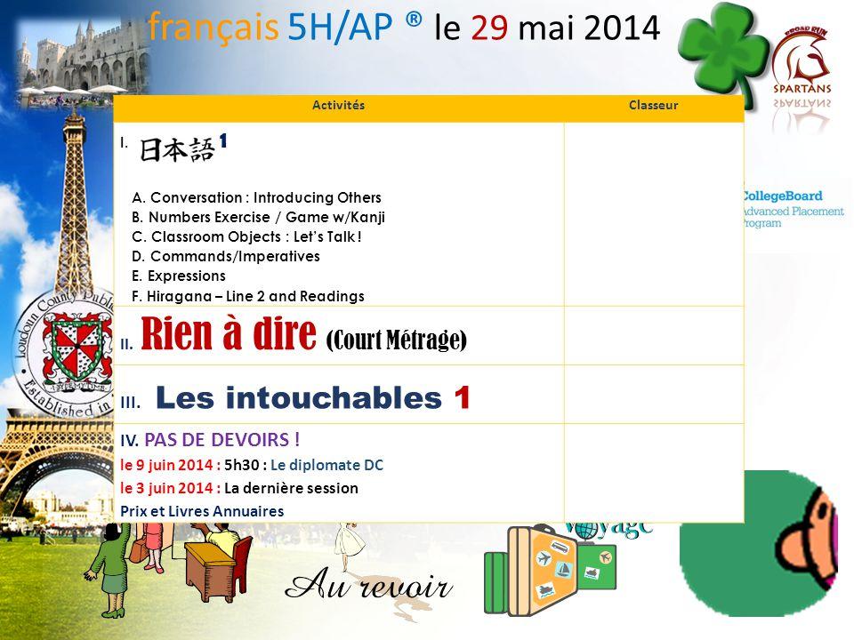 français 5H/AP ® le 29 mai 2014 III. Les intouchables 1