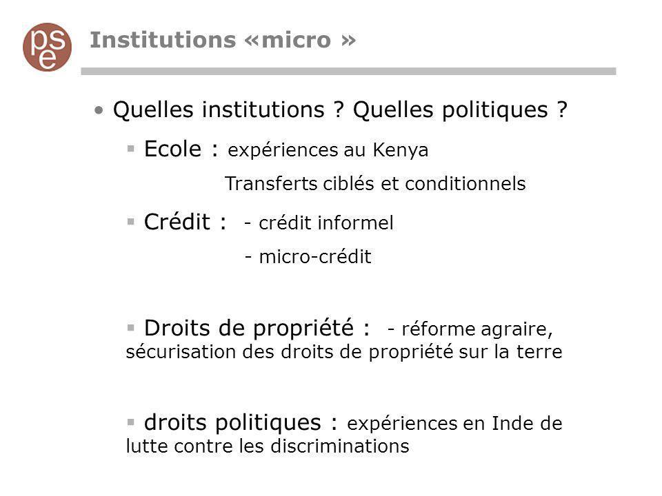 Quelles institutions Quelles politiques