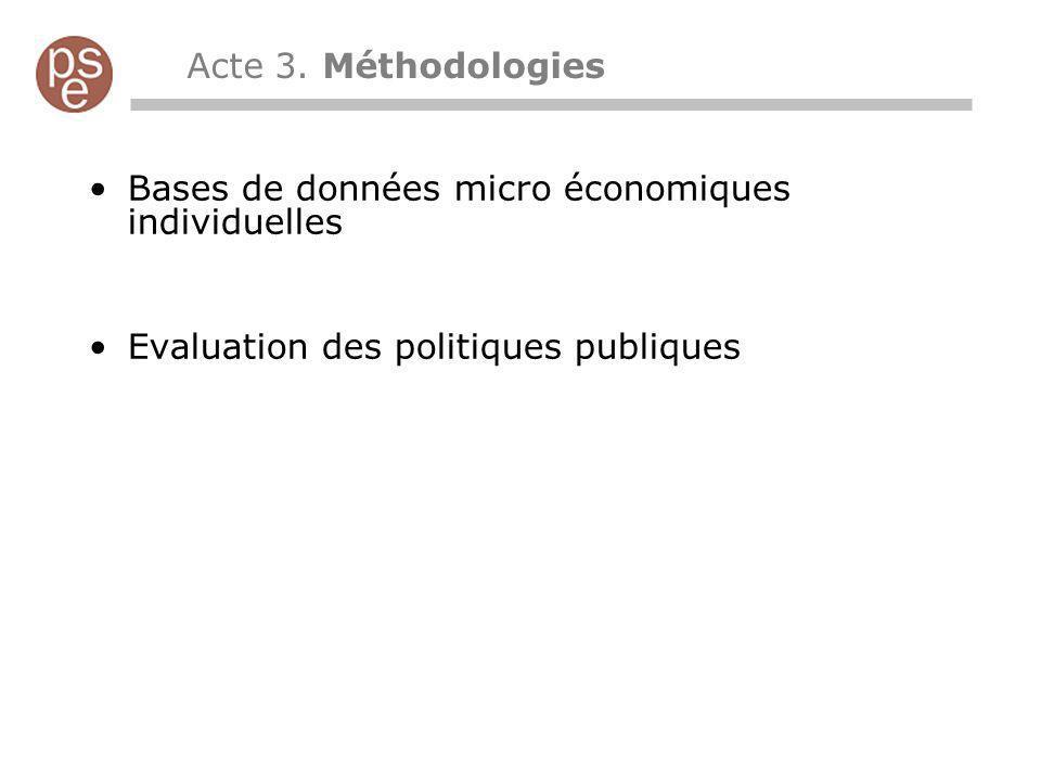 Bases de données micro économiques individuelles