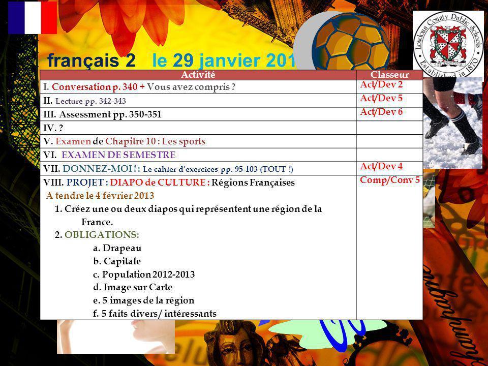 français 2 le 29 janvier 2013 Activité Classeur