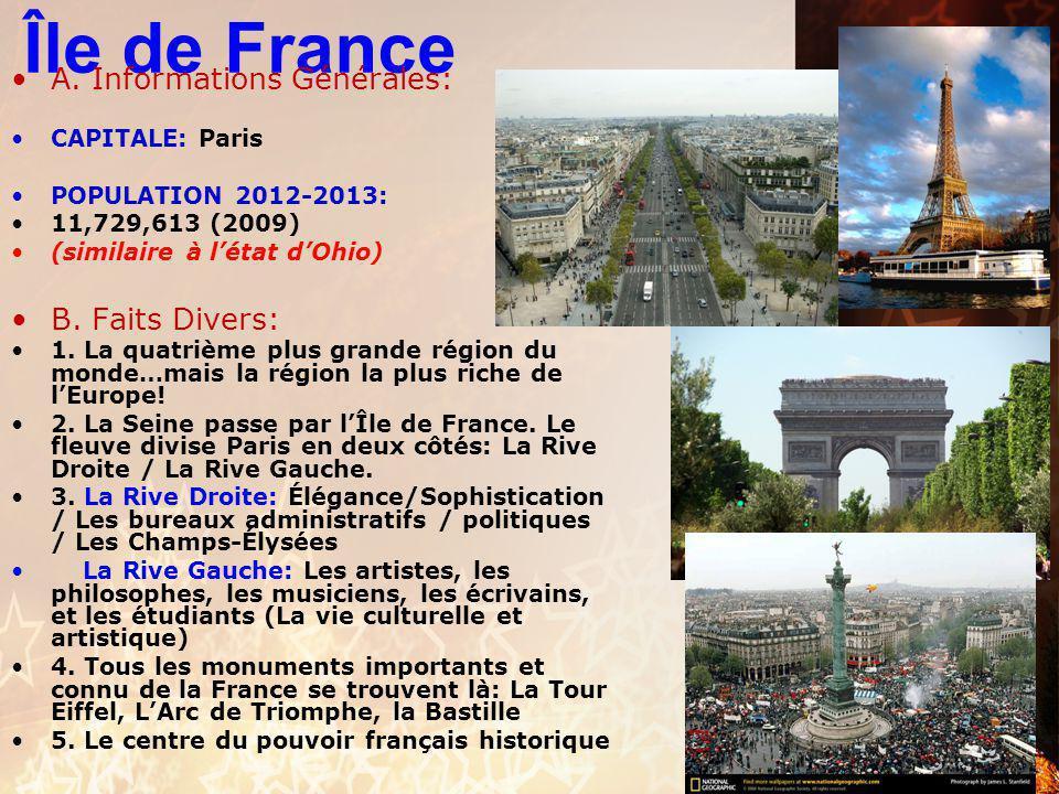 Île de France A. Informations Générales: B. Faits Divers: