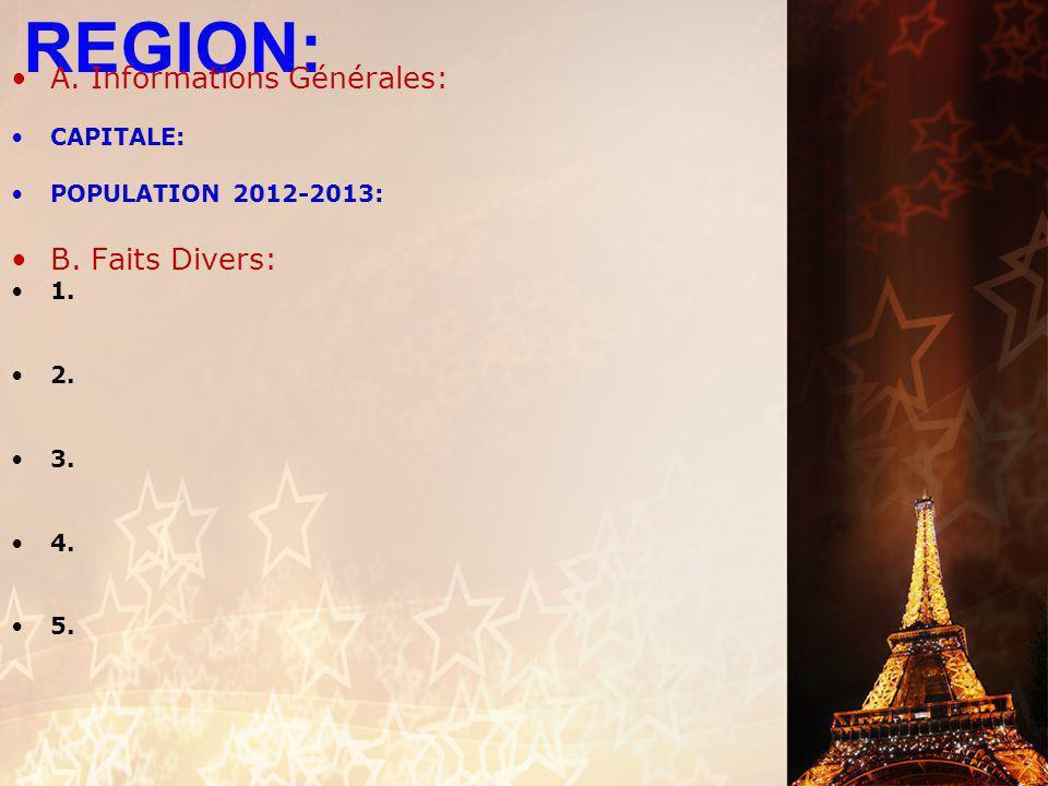REGION: A. Informations Générales: B. Faits Divers: CAPITALE: