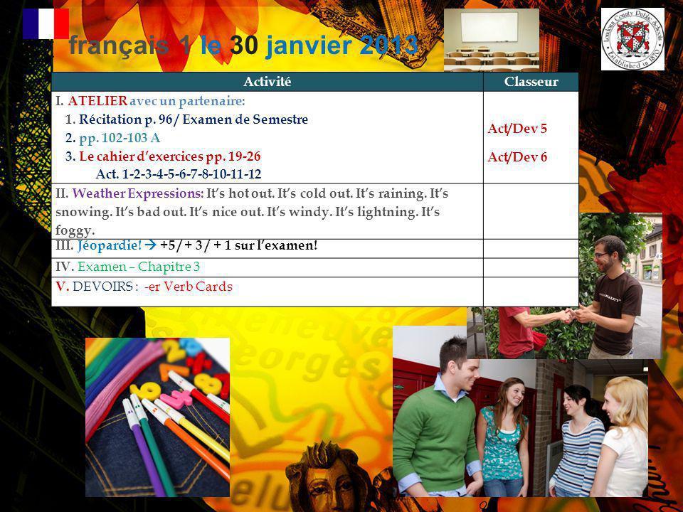 français 1 le 30 janvier 2013 Activité Classeur