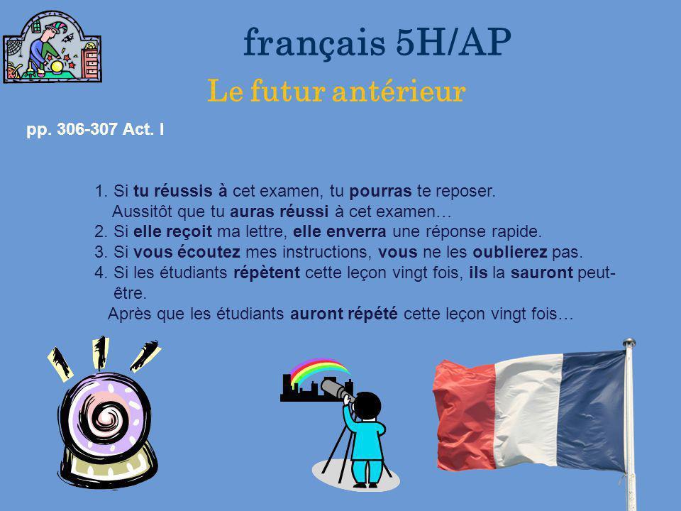 français 5H/AP Le futur antérieur
