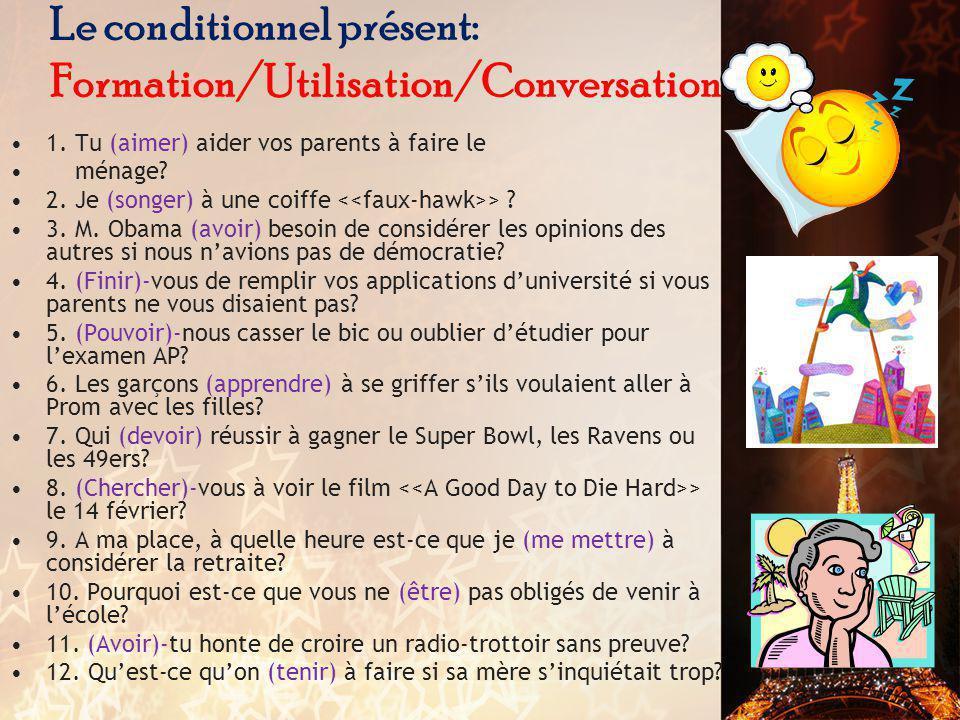 Le conditionnel présent: Formation/Utilisation/Conversation