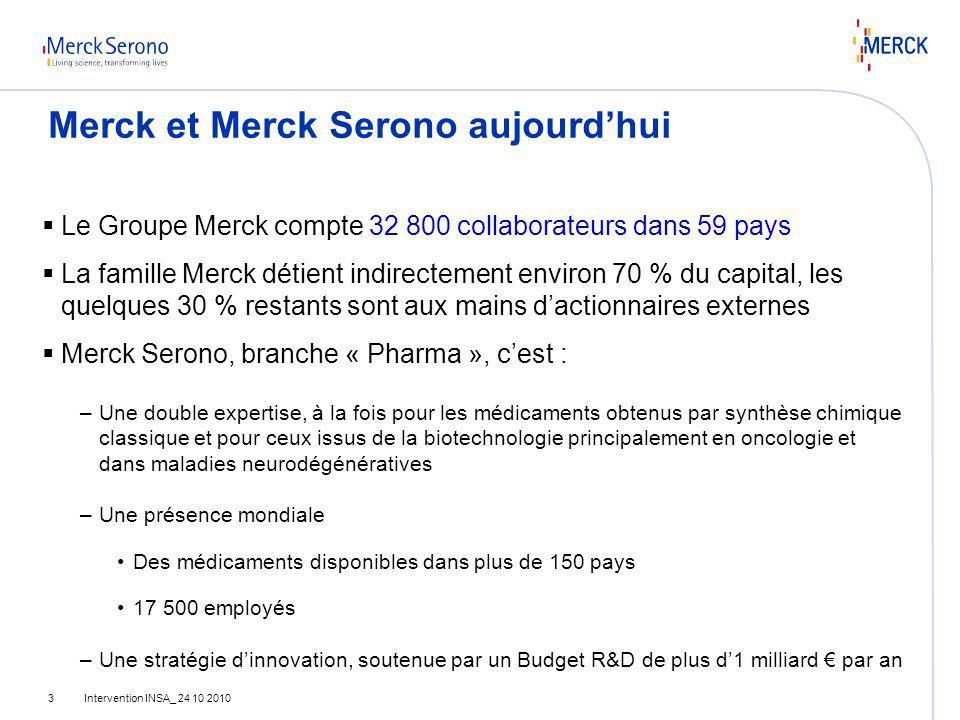Merck et Merck Serono aujourd'hui