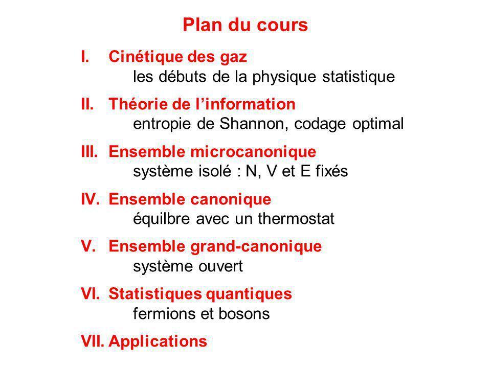 Plan du cours Cinétique des gaz les débuts de la physique statistique