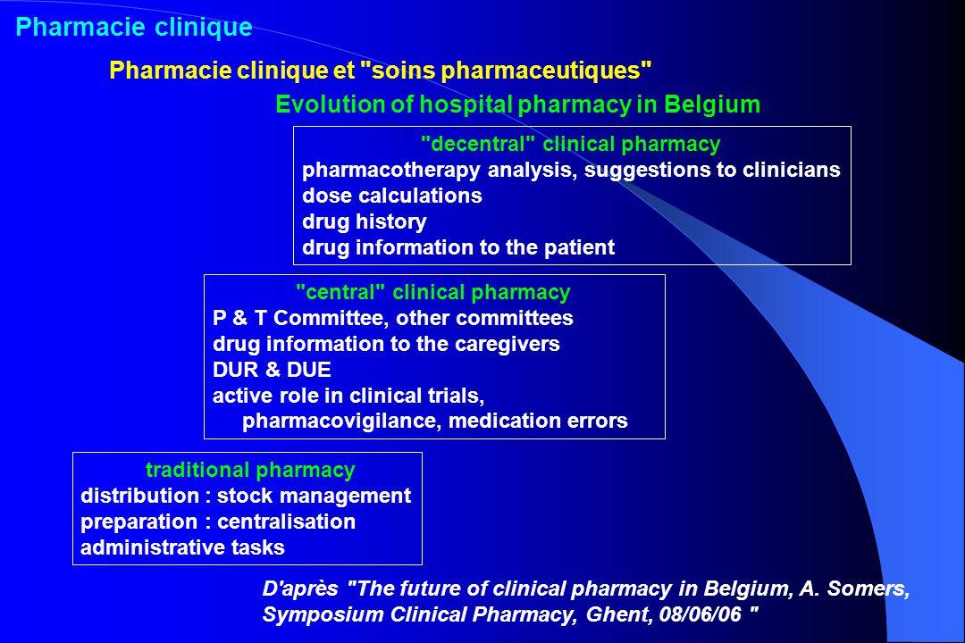 Pharmacie clinique Pharmacie clinique et soins pharmaceutiques