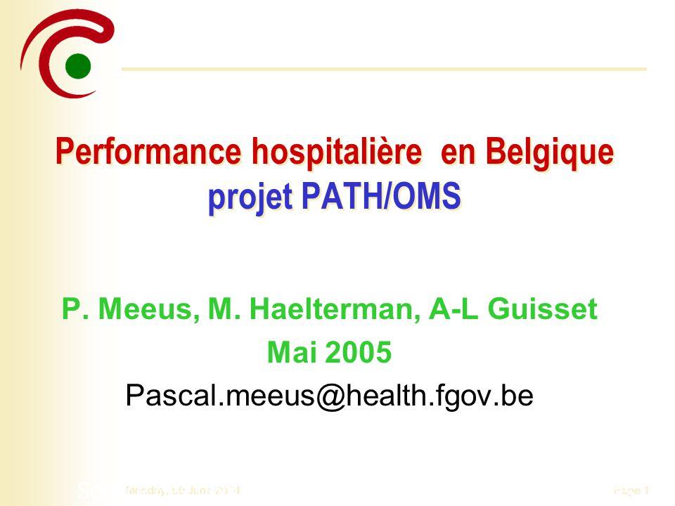 Performance hospitalière en Belgique projet PATH/OMS