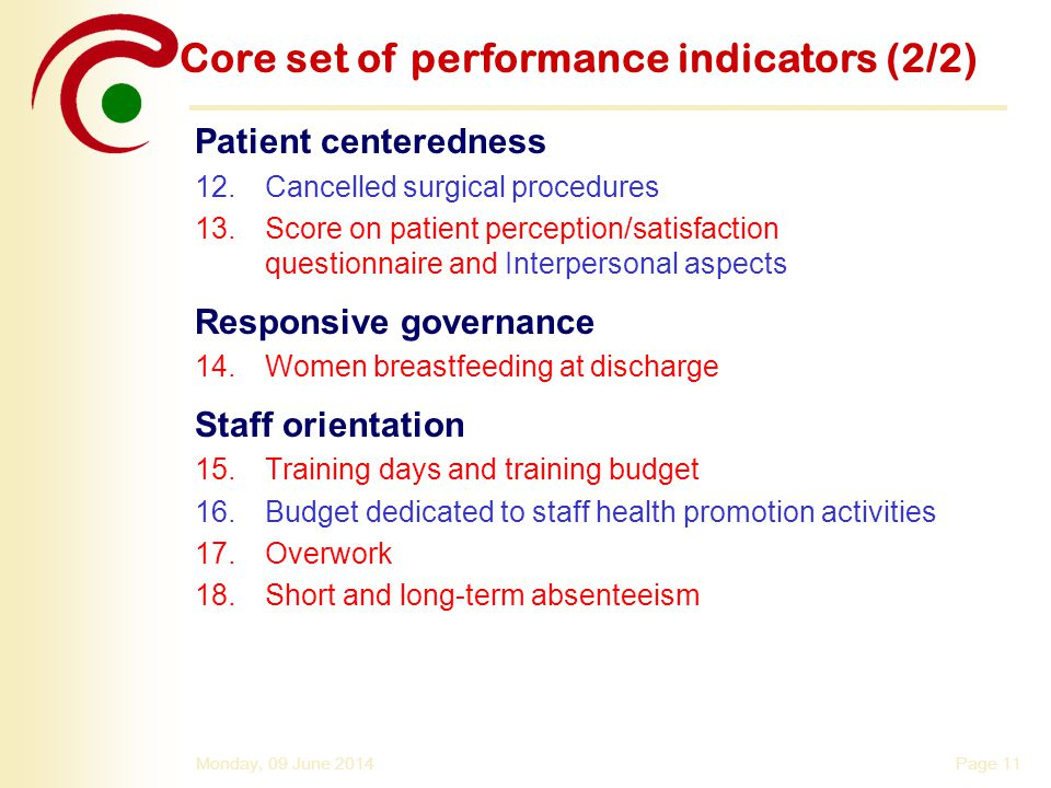 Core set of performance indicators (2/2)