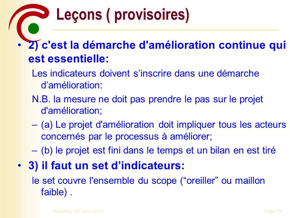 Leçons ( provisoires) 2) c est la démarche d amélioration continue qui est essentielle: